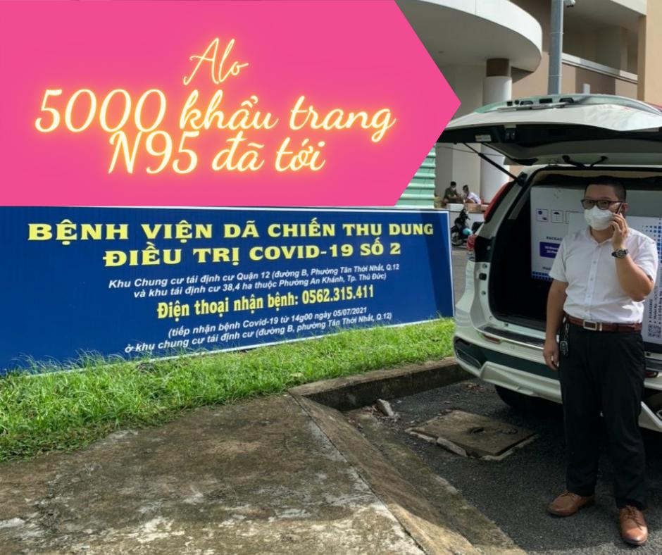 Quyên góp 5000 khẩu trang N95 cho bệnh viện thu dung số 2